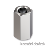 Hexagon coupling nut DIN6334 M5x15, cl.6, galvanized