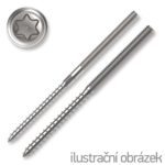 Hanger bolt, M10x200, TX25, with hex. in the middle, white zinc plated