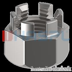 Hexagon castle nut DIN 935 M14 cl.6, galvanized