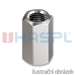 Hexagon coupling nut DIN6334 M20x60, cl.6, galvanized