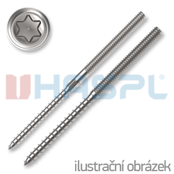 Hanger bolt, M6x100, TX15, without  hex. in the middle, white zinc plated