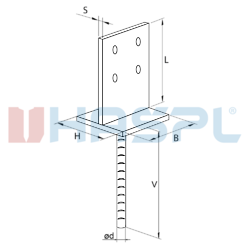 Anchor base to concrete type T 70x70x4,0 - 3