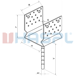 Pressed anchor base to concrete type U 90x80x4,0 - 3